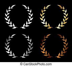 Vector. Set of wreaths. Golden award, silver award, bronze award, blank award. Wreath for a winner.