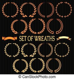 vector set  of wreaths with laurel