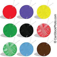 yarn balls - vector set of yarn balls