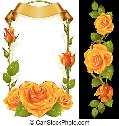 Vector set of Yellow Roses Decoration