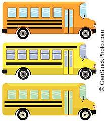 Vector set of yellow school buses.