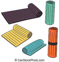 vector set of yoga mat