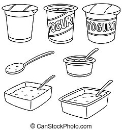 vector set of yogurt