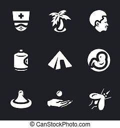 Vector Set of Zik virus Icons. - Doctor, palm, african,...