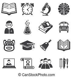 vector, set, opleiding, illustratie, iconen