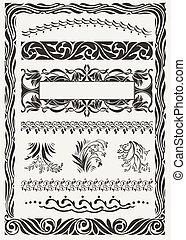 vector set: original design frames and page decoration