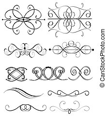 vector, set, ornament