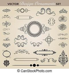 vector, set, ornament