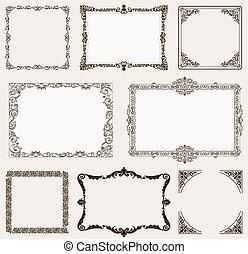 Vector set. Ornate frames and vintage scroll elements