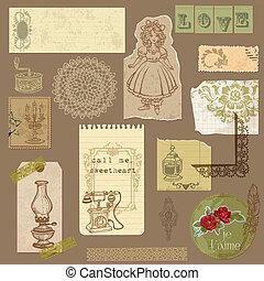 vector, set, oud, ouderwetse , -, papier, ontwerp, goederen, plakboek, jouw