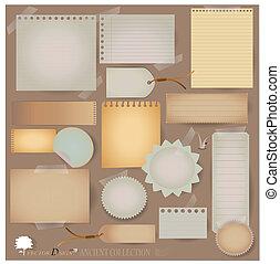 vector, set:, ouderwetse , postkaart, en, leeg, papier, designs., (variety, van, kliek, voor, jouw, indelingen, of, scrapbooking, projects)