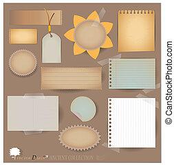 vector, set:, ouderwetse , postkaart, en, leeg, papier,...
