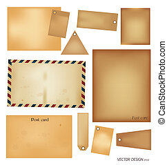 vector, set:, ouderwetse , postkaart, enveloppe, postzegel, kaart, en, leeg, papier, designs.