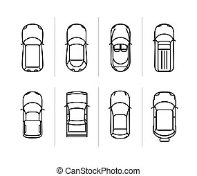 Car Top View Vector Set Vector Cars Icon Set From Above Car Top