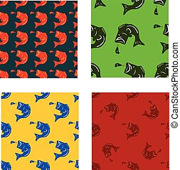 vector set pattern from fish bass silhouette in different colors