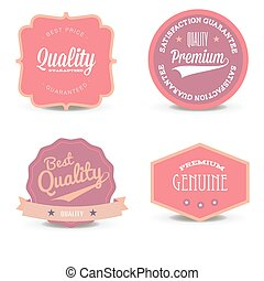 Vector set pink label website offer quality white layout special retail blank business tag. Concept sign design template, circle, sticker discount element shape price. Modern icon round sale retro web