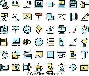 vector, set, plat, redacteur, iconen