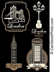 vector set premium labels from London attractions