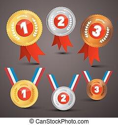 vector, set, prijzen, medailles