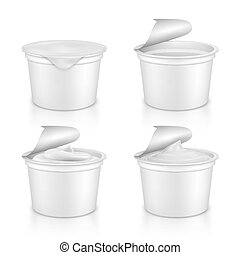Vector set realistic plastic packages with yogurt.