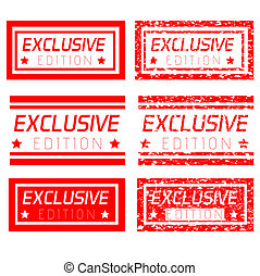 set red rubber stamp effect exclusive edition, isolated on white