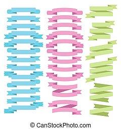 vector, set, ribbons.