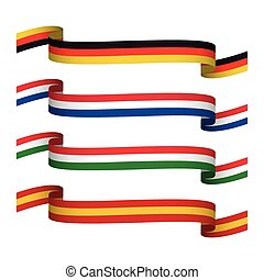 Vector set ribbons in the colors of Germany, France, Italy and Spain isolated on white background for your infographic, web and apps