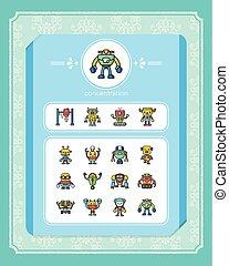 vector, set, robot, pictogram