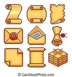 vector, set, rollen, iconen, papier, pixel