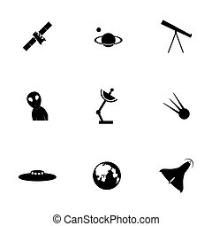 vector, set, ruimte, pictogram
