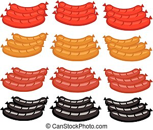 vector set sausages in different colors