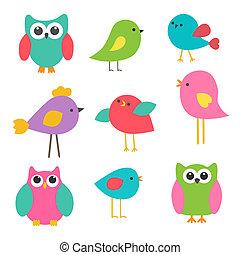 vector, set, schattig, vogels, en, uilen