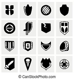 vector, set, schild, pictogram