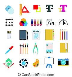 vector, set, schrijvende , computer briefpapier, gereedschap