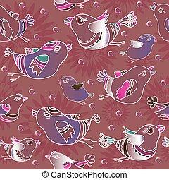 Vector set seamless patterns with  cartoon  birds.