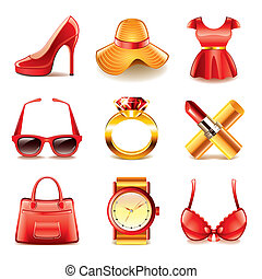 vector, set, shoppen , mode, iconen