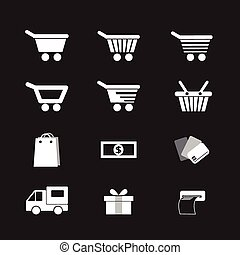 vector set shopping cart icon
