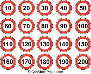 Vector set sign speed limit - Vector icon set road sign...