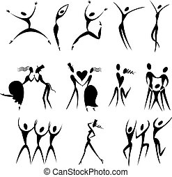 vector, set, silhouette, illustratie