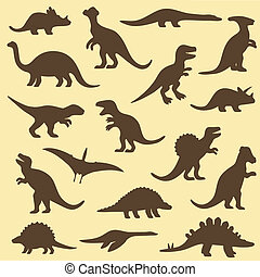 silhouettes of dinosaur - Vector set silhouettes of...