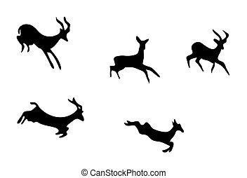 set - silhouettes of mountain goats - vector set -...