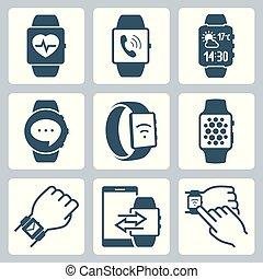 vector, set, smart, horloges, pictogram