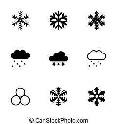 vector, set, sneeuw, pictogram