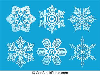 vector, set, sneeuwvlok, illustratie, winter