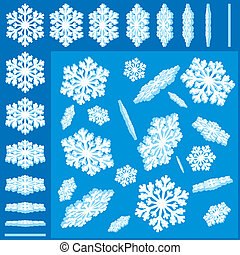 vector, set, snowflakes, 3d