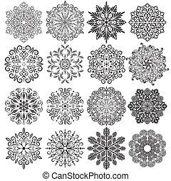 vector, set, snowflakes