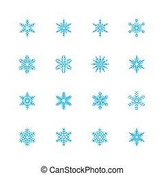 vector, set, snowflakes, pictogram