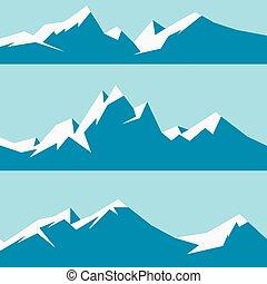 set snowy mountains