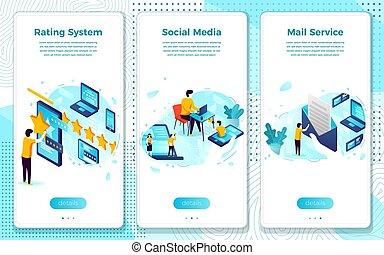 Vector set social media concept rating mail system