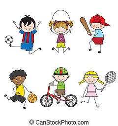 vector, set, sportende, spotprent, iconen